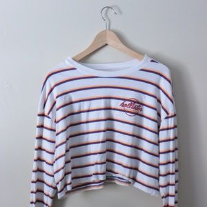 Retro style striped hollister crop top